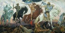"Classical artwork depicting the ""Four Horsemen of the Apocalypse"""